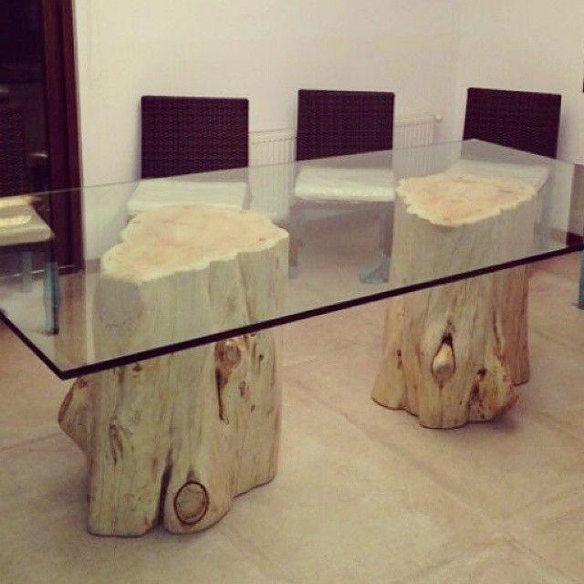 Base de troncos para mesas 2 unidades decoraci n con for Mesas de troncos de madera