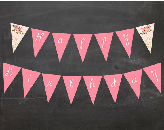 floral chic pink or pink and green triangle pennant banner full