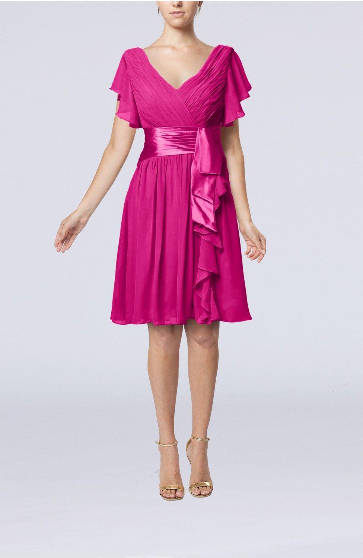 Hot Pink Guest Dress - Romantic Short Sleeve Zip up Knee Length ...