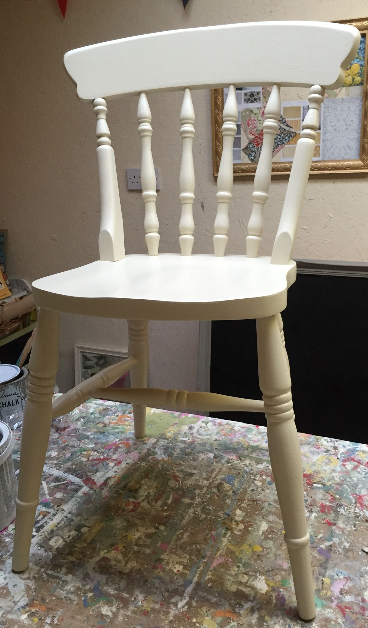 Set of 4 Farmhouse chairs painted in Farrow and Ball