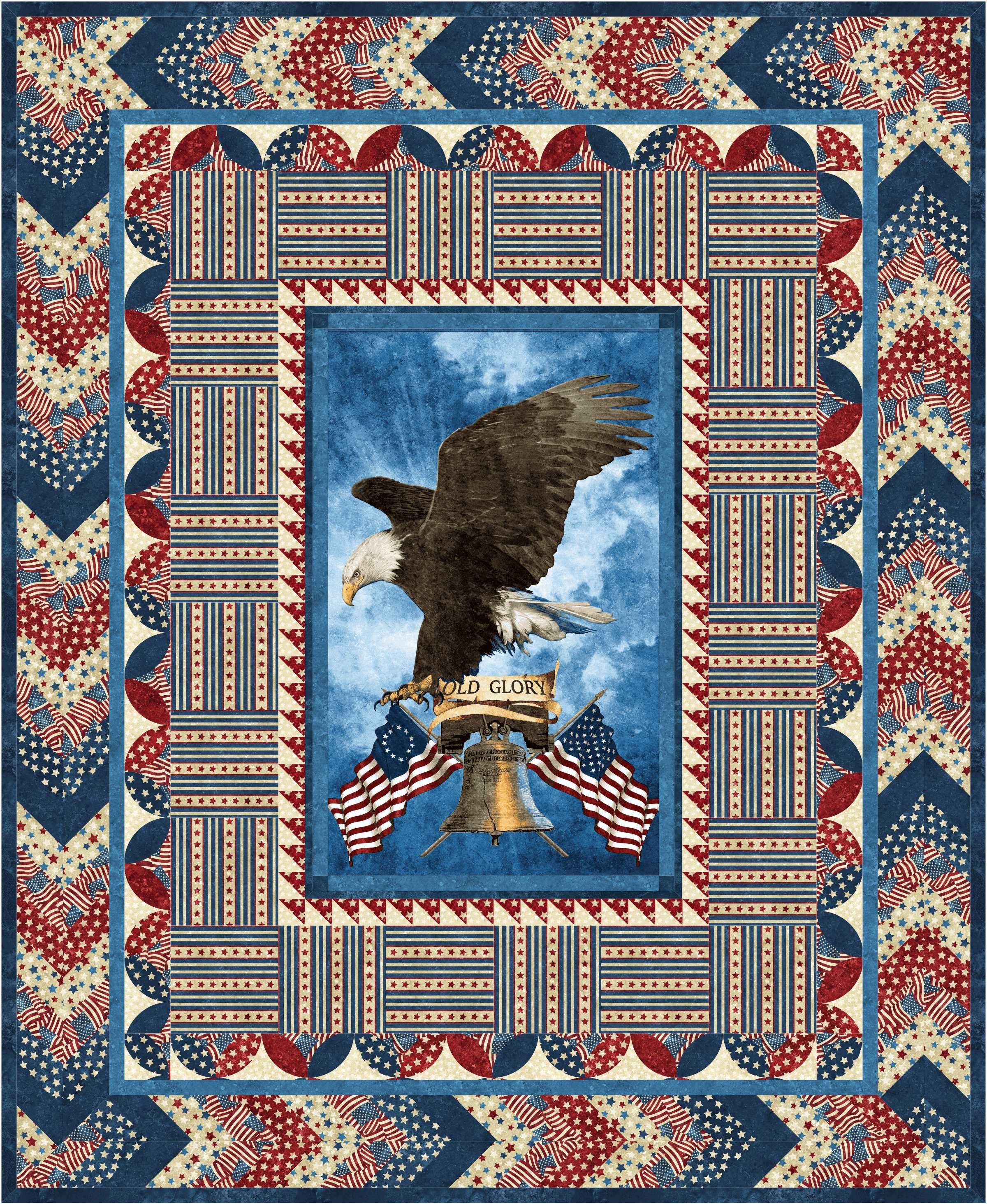 Quilting Panels Quilt Patterns : Old Glory One Stamp Quilt of Valor Pattern uses the Stonehenge
