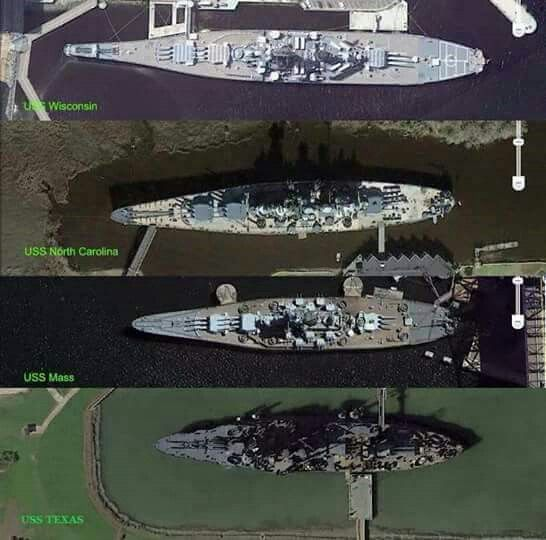 Google Earth images of USS Texas, USS Massachusetts that's