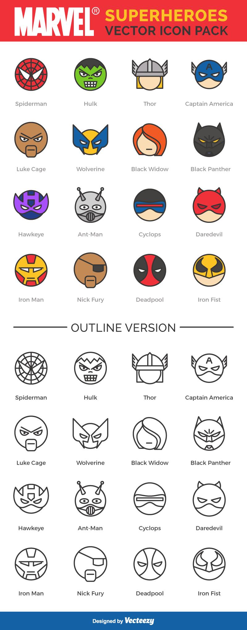 Free Icon Set Star Wars and Marvel Superheros Cricuit