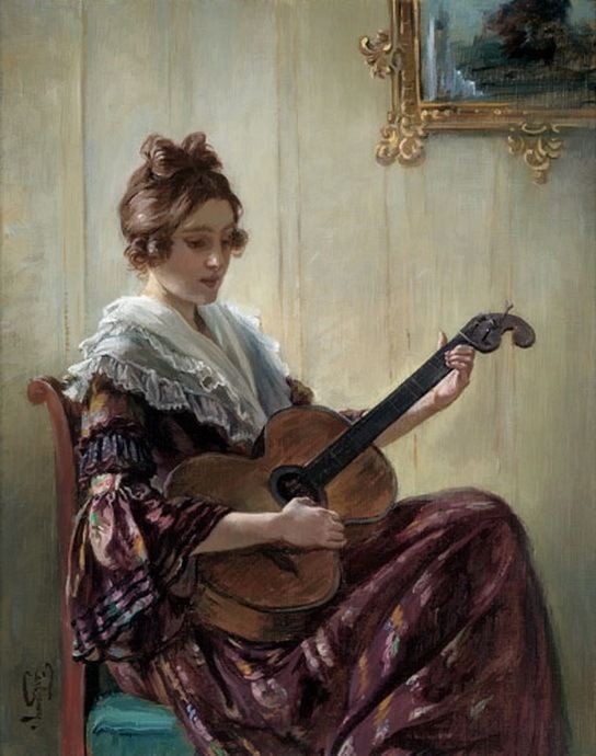Musical Entertainment ~ Carl Zewy (Austrian, 1855-1929) ~ Studied at the Academy of Vienna, exhibited in Vienna in 1886 and in Munich in 1888.