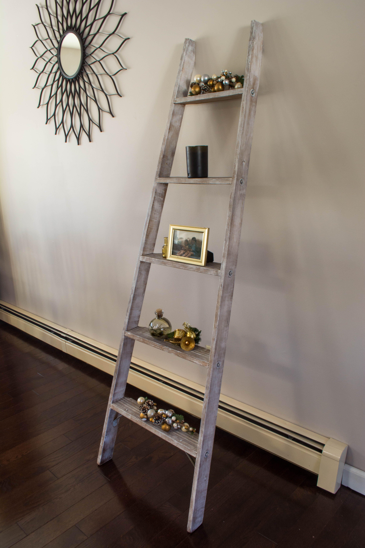 Repurposed rustic white washed wood shelf ladder by ruinous
