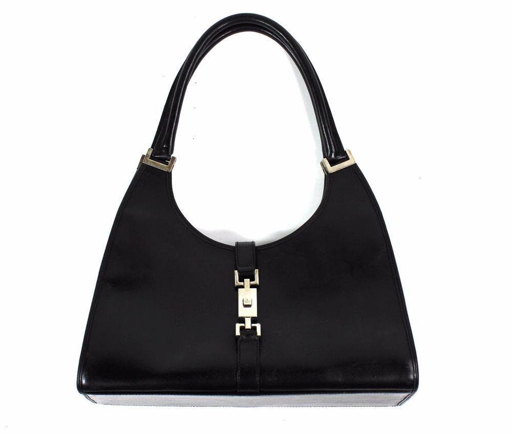 Vintage Gucci Black Leather Jackie O Hobo Shoulder Handbag Golden Hardwear Purse