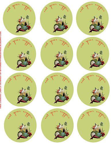 download these pretty veggie vintage inspired jar lid labels