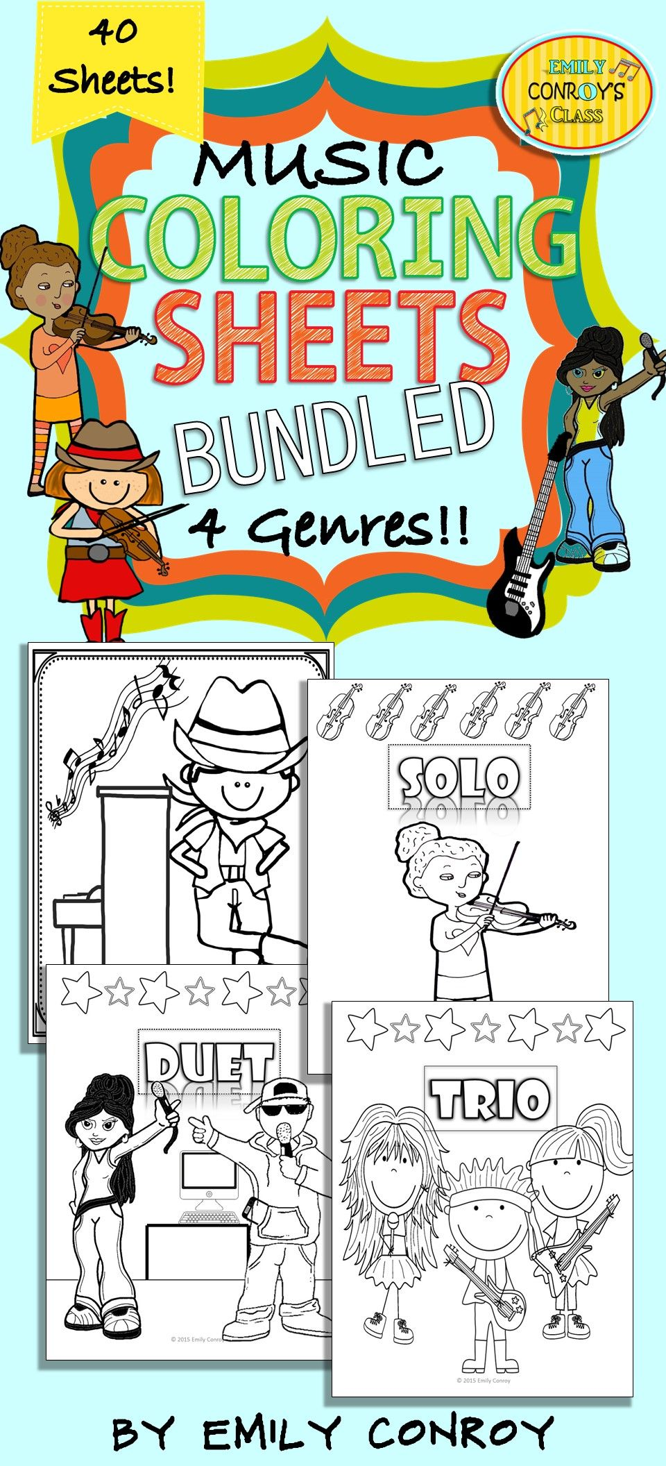 music coloring sheets bundled elementary music music classroom