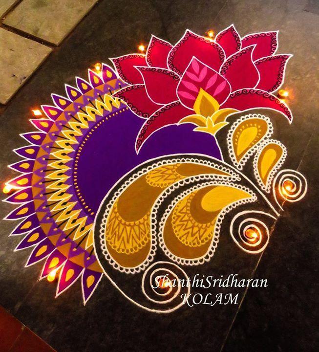 Lotuspinkpurpleyellowmandalakolamrangoli Barsha Rango