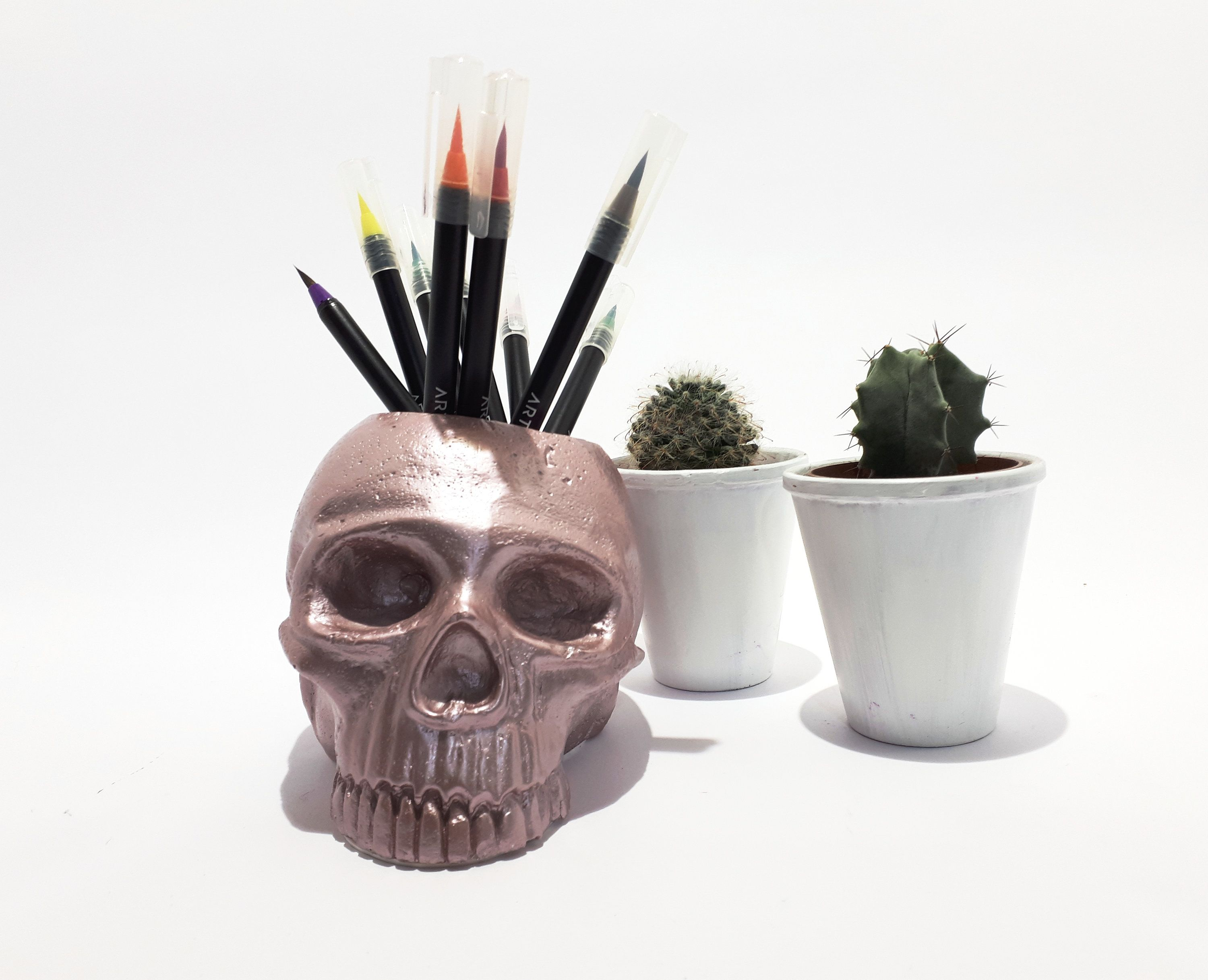 Decorative skull, Skull pot, Make up brush holder in 2019