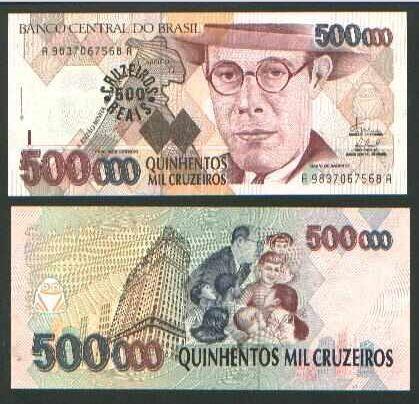 500.000 Cruzeiros (500 Cruzeiros Reales) Brazil 1993 Mário de Andrade (Poet, writer, musicologist on front and back)