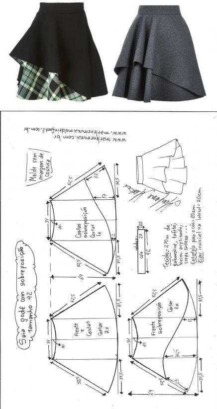 шить быстро и легко   Costura, Patrones y Falda