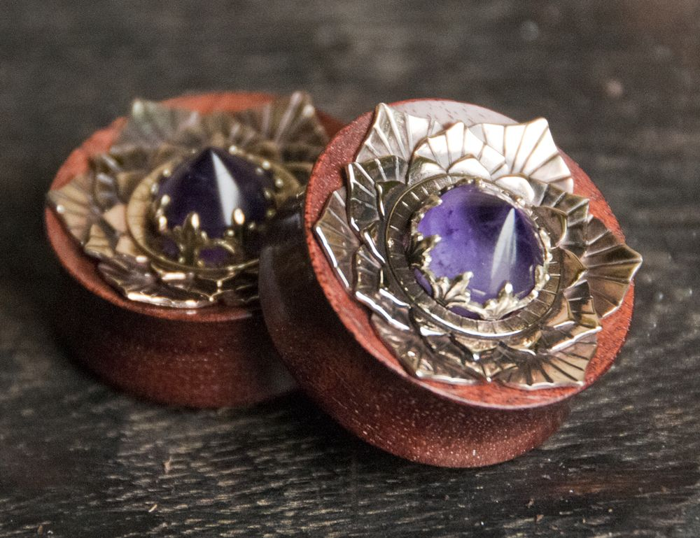 """1""""1/4 Bloodwood plugs with some juicy amethyst and brass lotus inlays! Quickly becoming my favorite stone!"""