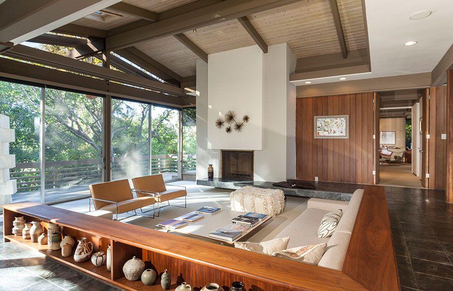 Strimling House By Architect Ray Kappe Mid Century Modern House Sunken Living Room Mid Century Modern Interiors