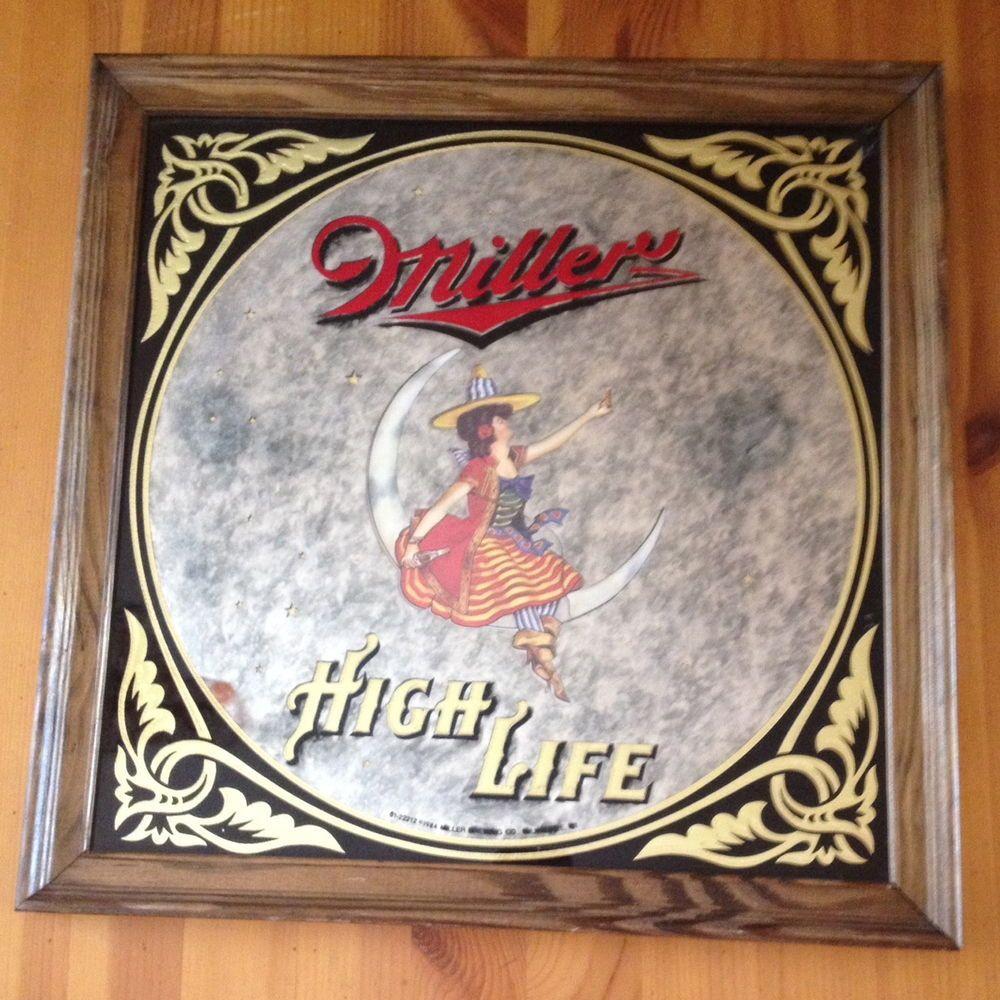 Vintage Miller High Life Beer Mirror Sign Woman Girl