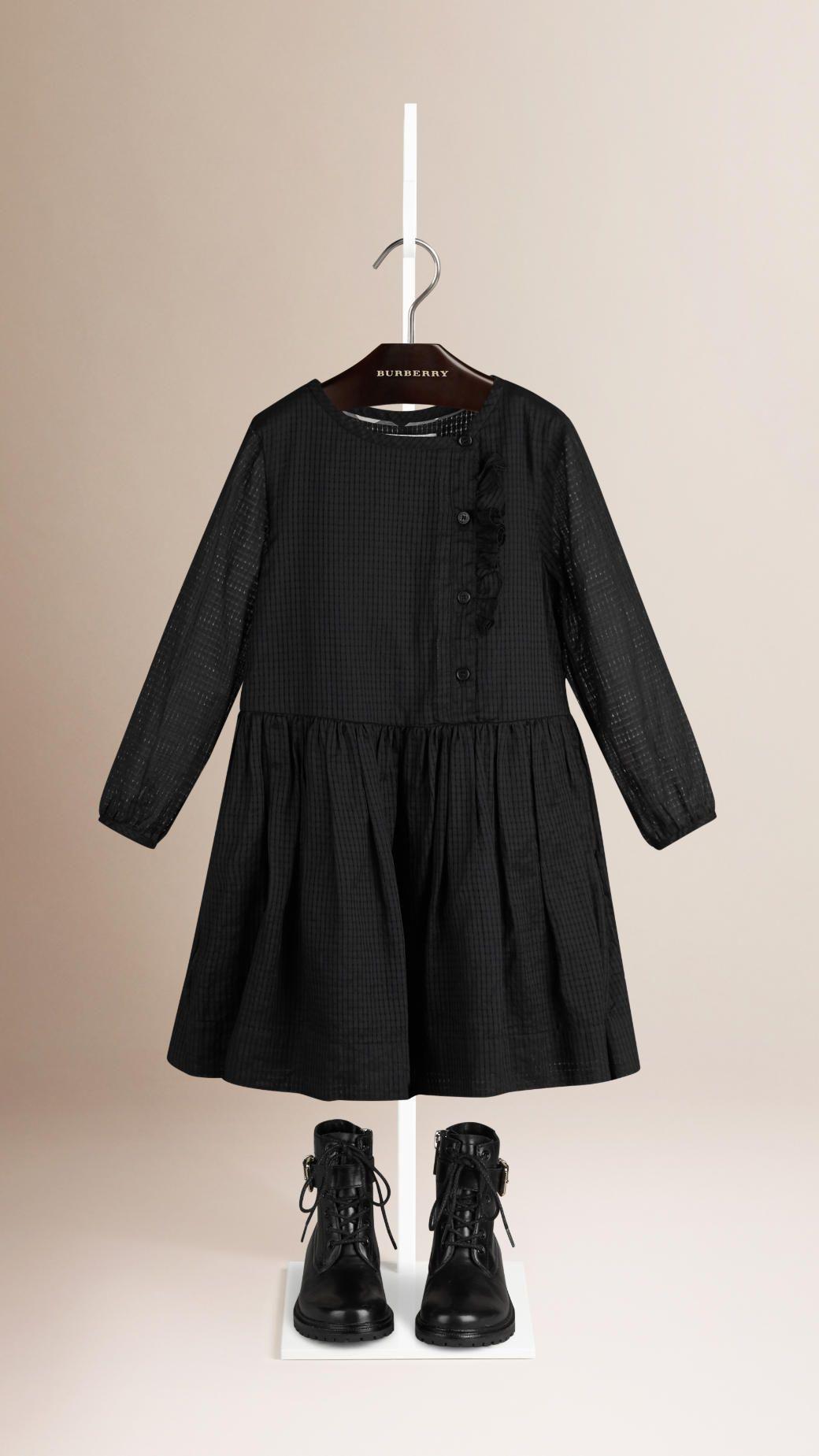 1355f42dd0c9 Robe en coton avec volants Noir   Burberry