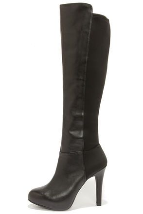 b11b4562a5d Jessica Simpson Avalona Black Leather Knee High Heel Boots at Lulus.com!