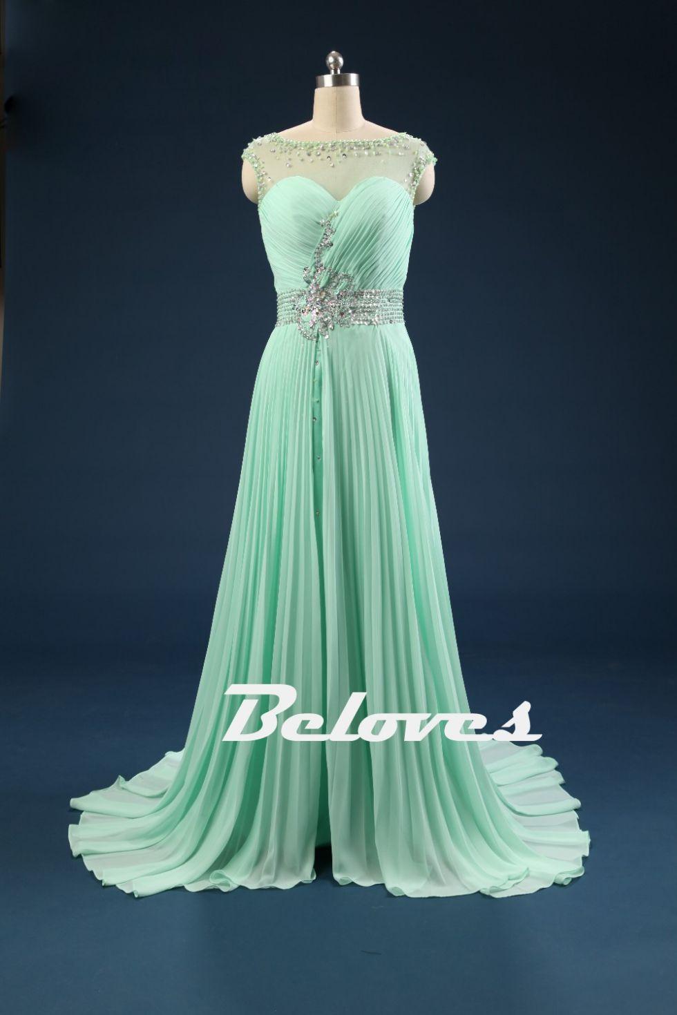 Green dress prom  Prom Dress Green Dress Chiffon Dress Pleated Dress Green Prom