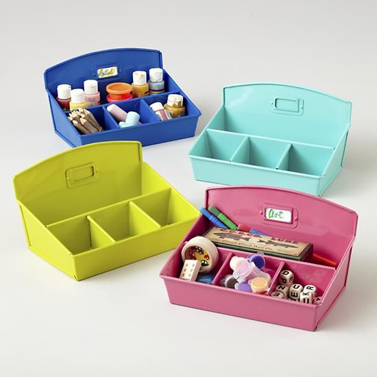The Land of Nod | Kids Storage: Colorful Iron Desk Organizers in Craft Storage   --I'll take the aqua one, please.