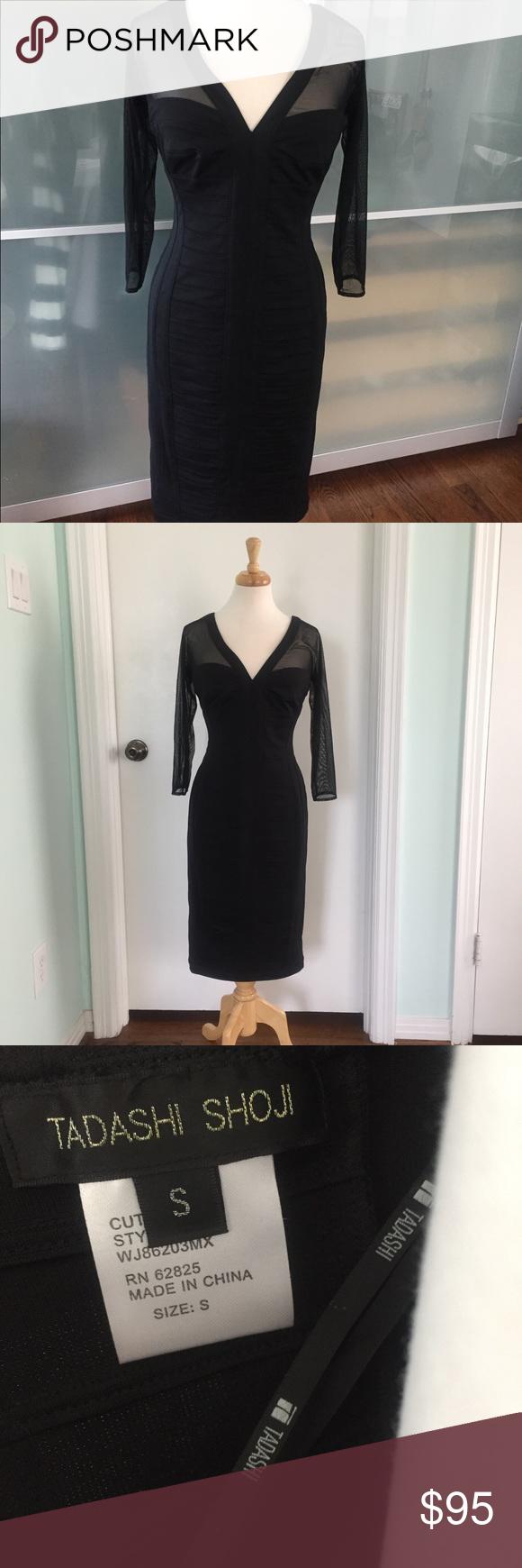 Tadashi Shoji Black Dress With Shear Sleeves Tadashi Shoji Black Dress Black Dress Dresses [ 1740 x 580 Pixel ]