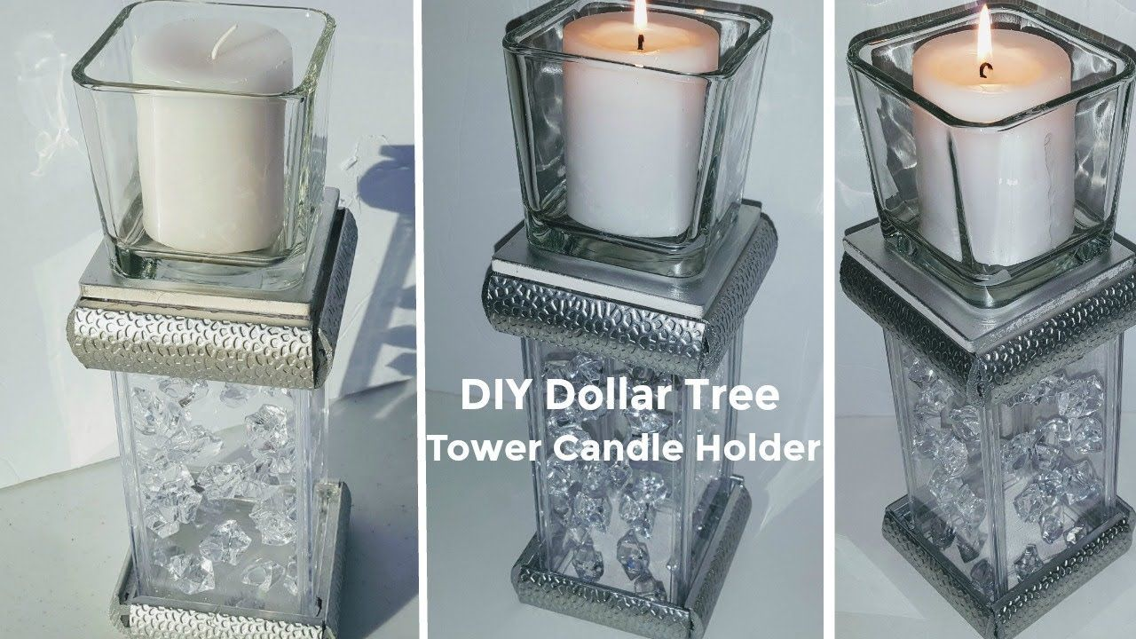 Diy dollar tree glam tower candle holder centerpieces pinterest