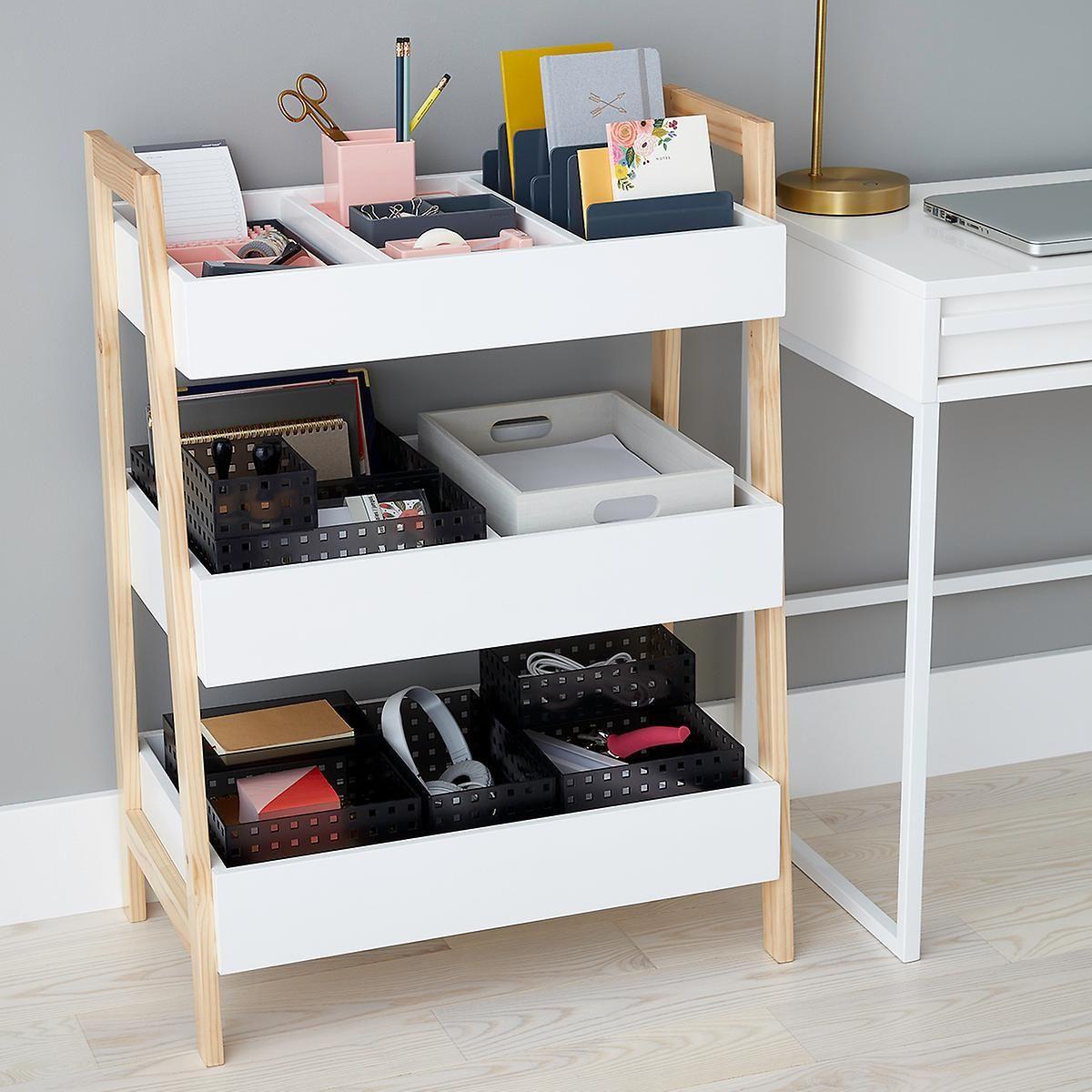 White Multi Purpose 3 Tier Shelf Storage Design Shelves Office