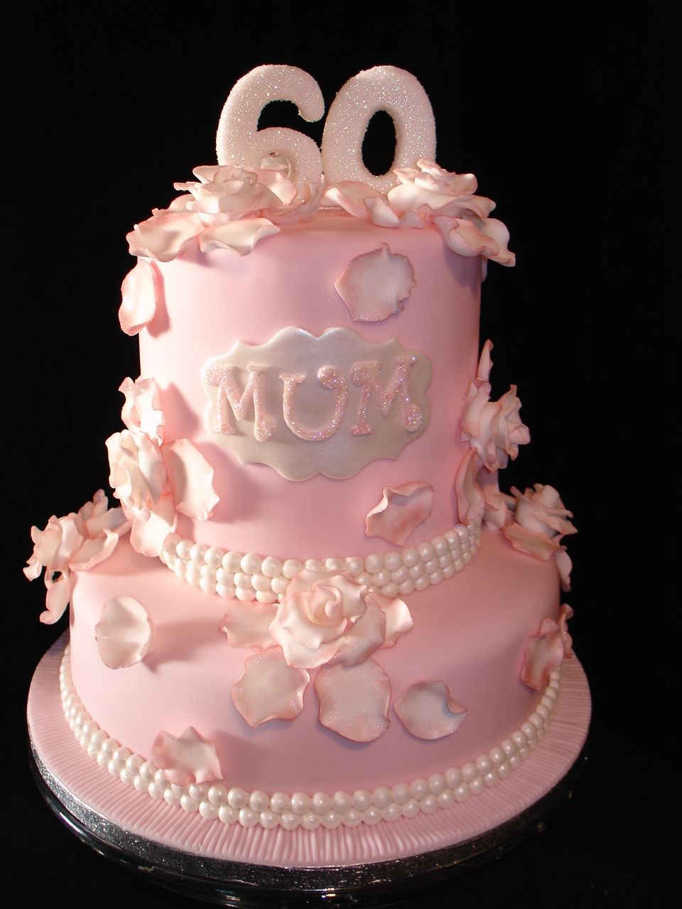 Pale Pink 60th Birthday Fondant Cake Cakes