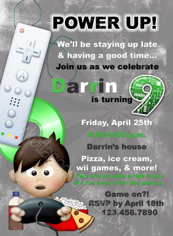 Power Up Any Age Video Game Printable Birthday Party - Birthday party invitation videos