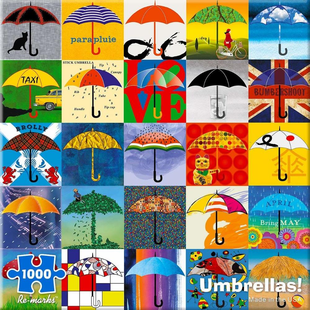 Jigsaw Puzzle Montage Colorful Umbrellas Brolly Parapluie Parasol 1000 piece NEW