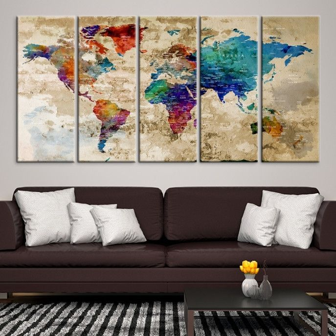 21175 world map wall art world map canvas world map print world find this pin and more on push pin world map canvas by mycanvasprintllc gumiabroncs Image collections