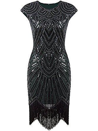 549adb69c50 Amazon.com  Vijiv Art Deco Great Gatsby Inspired Tassel Beaded 1920s  Flapper Dress  Clothing