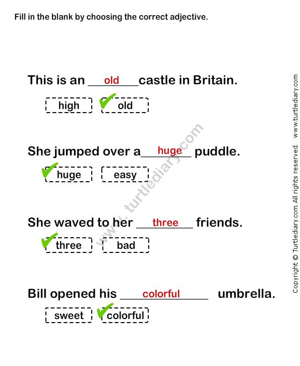 adjectives worksheets for grade 1 pdf