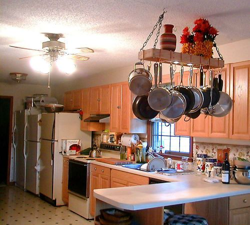 8x30 Lighted Hardwood Hanging Pot Rack Racks : lighted hanging pot racks kitchen - www.canuckmediamonitor.org