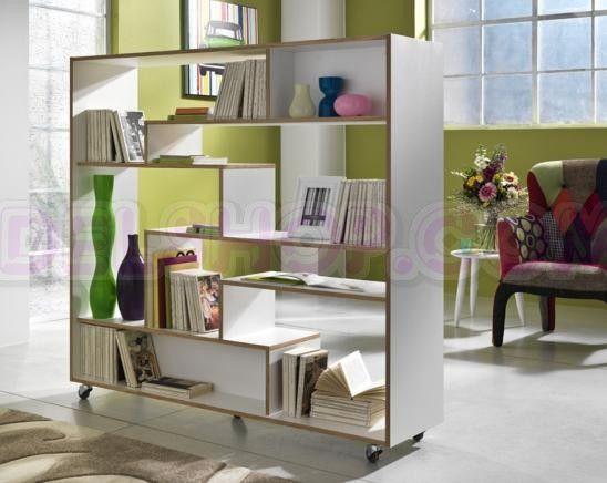Libreria Bifacciale Separa Ambienti con Rotelle | Doha
