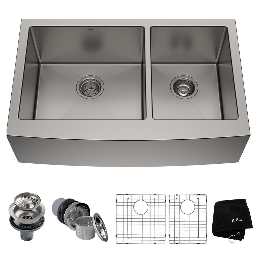 Kraus Standart Pro Farmhouse Apron Front Stainless Steel 36 In