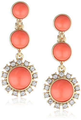 """Anne Klein """"Socialite"""" Gold-Tone Coral Colored Linear Crystal Accents  Drop Earrings -"""