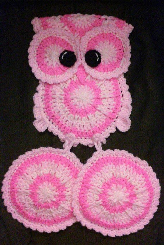 Crochet Pink Owl Potholder Holder Pattern Only por 3ThreadinBettys ...