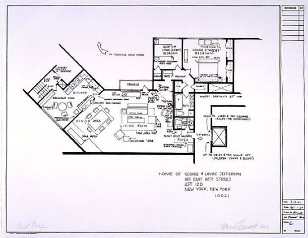 "Floor Plan For The Home Of George And Louise ""Weezy"