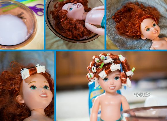 diy fixing doll hair. curly straight