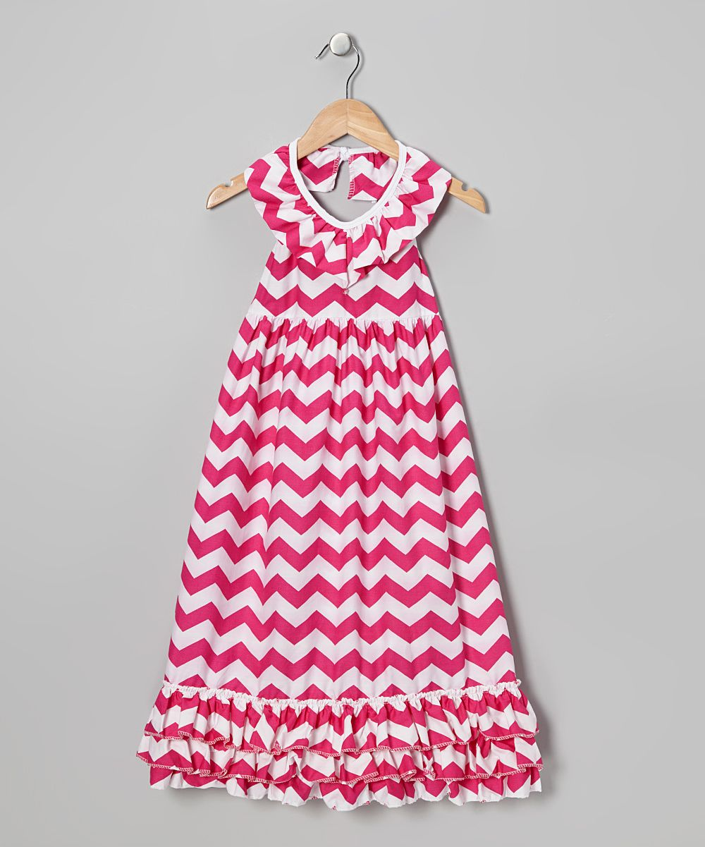 Hot pink chevron maxi dress infant toddler u girls daily deals