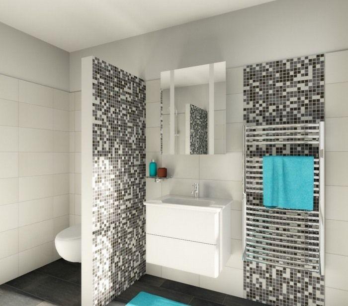 Keramik Mosaik Fliesen Setzen Schöne Akzente Schwarz Weiß Pixealartig