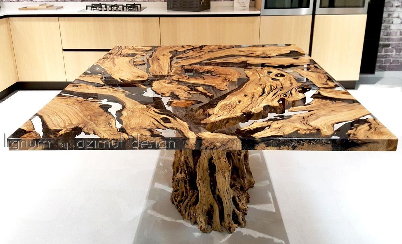 Tavolo in resina epossidica e antico olivo della calabria per la
