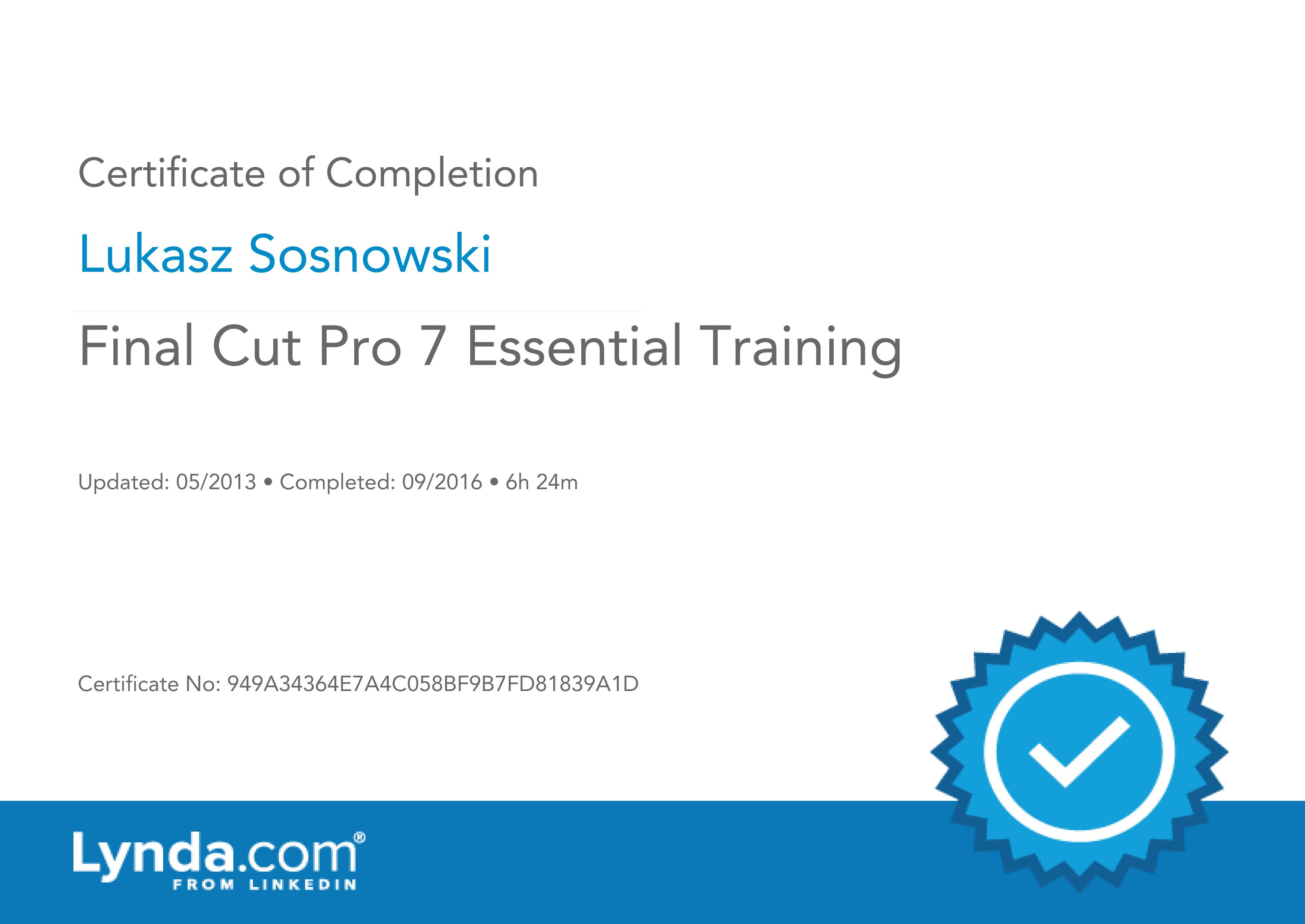 Final Cut Pro 7 Essential Training - Certification of