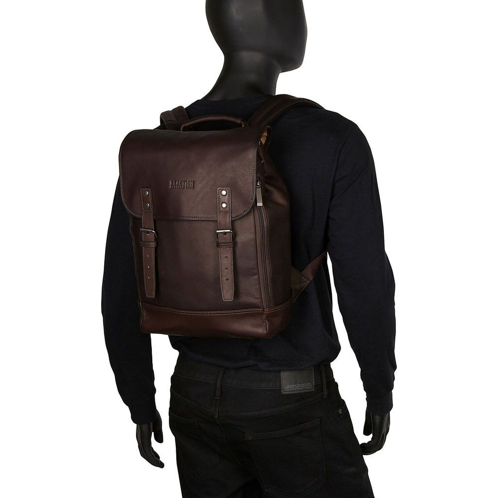 dbd444b6f Kenneth Cole Reaction Colombian Leather Flapover RFID Protected 14.1-inch  Laptop Backpack | Overstock.com Shopping - The Best Deals on Backpacks