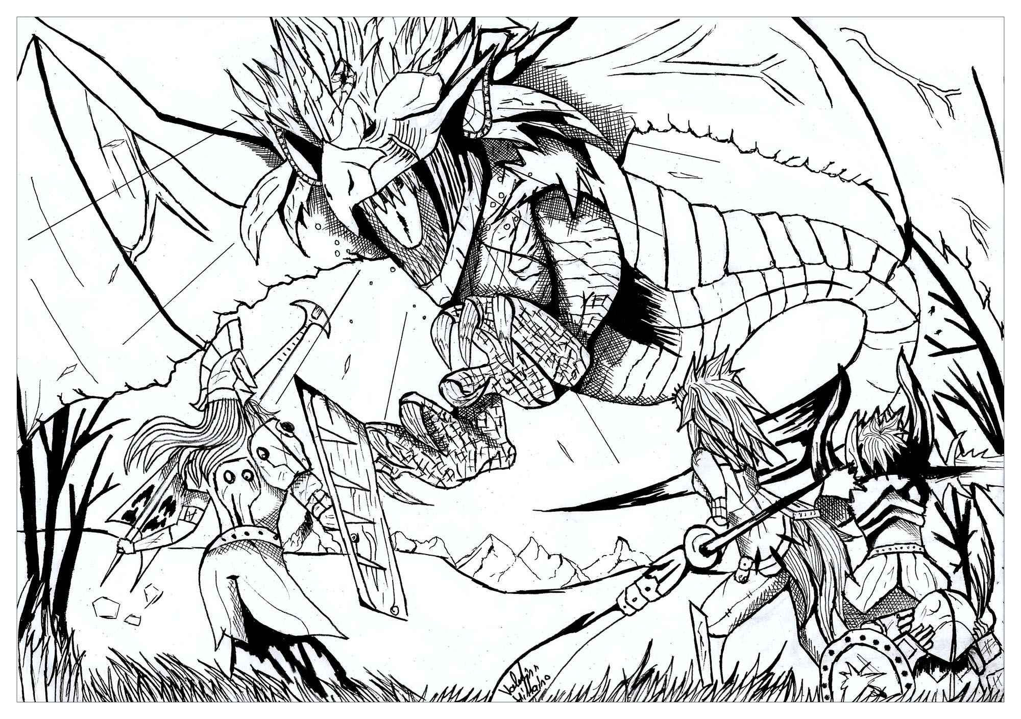 Dragon Hunter Dragons Coloring Pages For Adults Just Color
