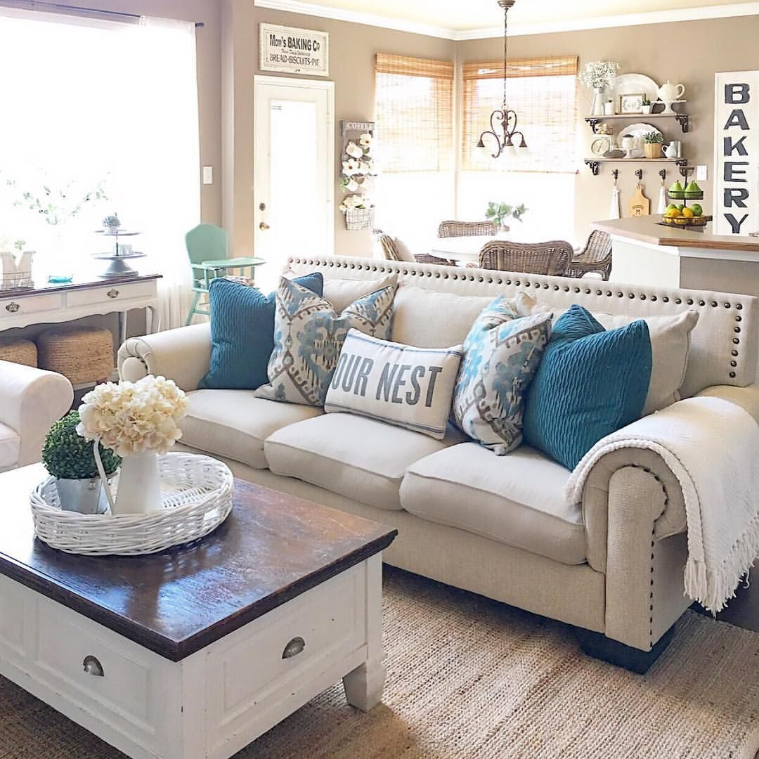 blue sofa living room ideas ikea lack table hack pin by tasha valentine on for the home modern farmhouse