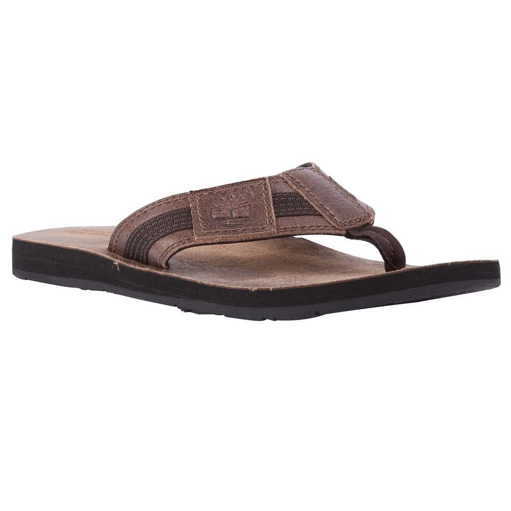 f1b4053084e525 Timberland Men s Earthkeepers Leather Fabric BROWN Thong Sandals  5700R ALL  SIZE  Timberland  FlipFlops