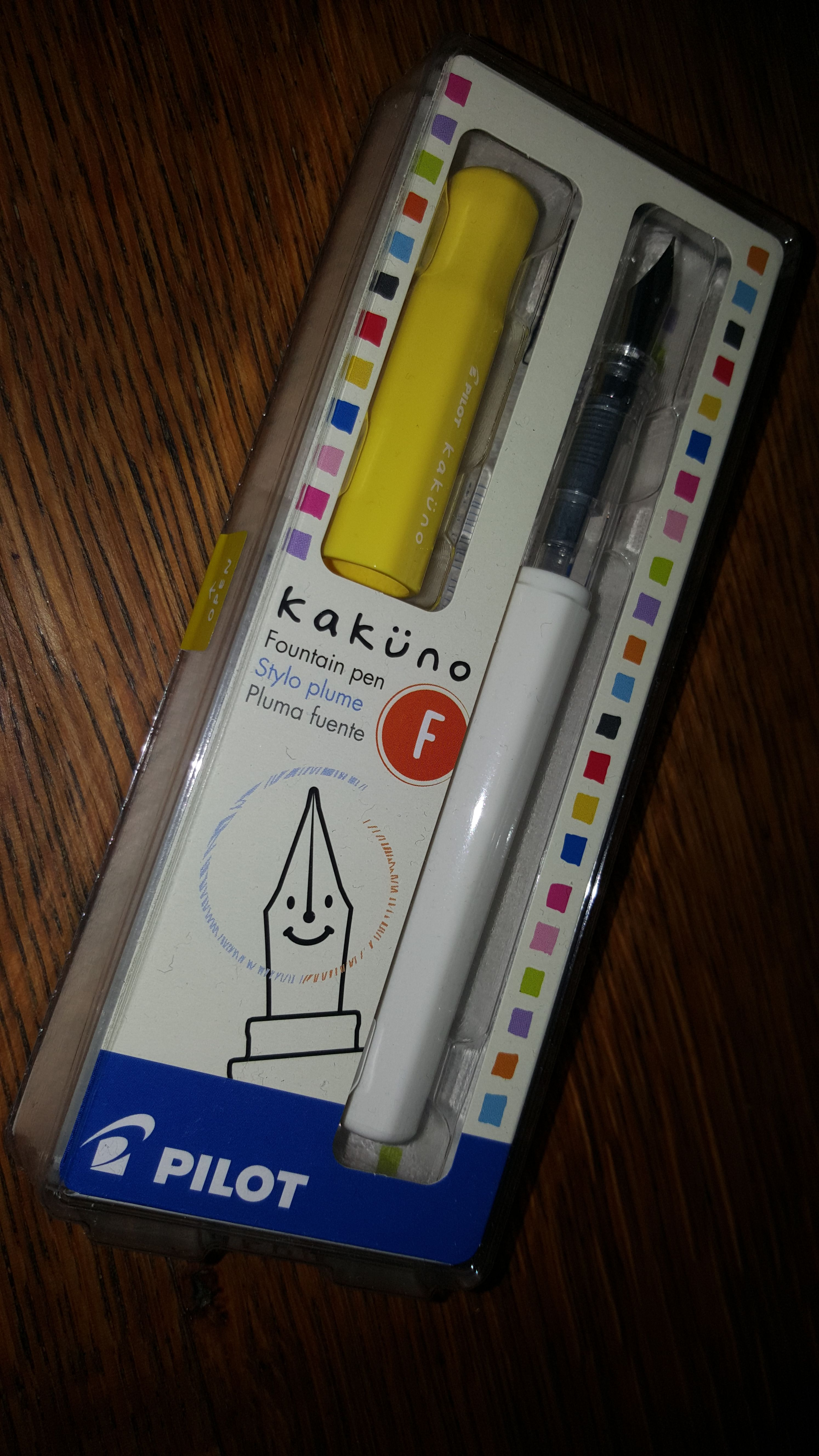 The Pilot Kakuno from Japan is another fun, inexpensive fountain pen that has a smiley face on the nib!