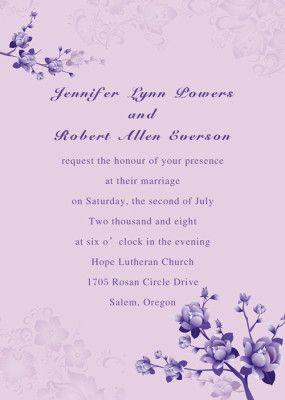 Simple Purple Fl Wedding Invites Ewi016