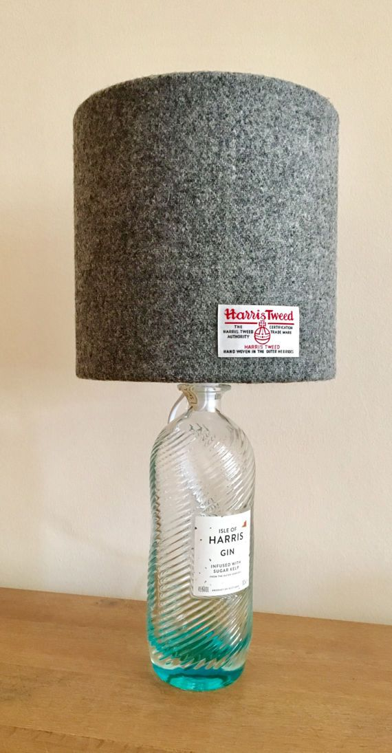 Harris Gin Bottle Lamp - Harris Tweed Lamp - Upcycled Lamp ...